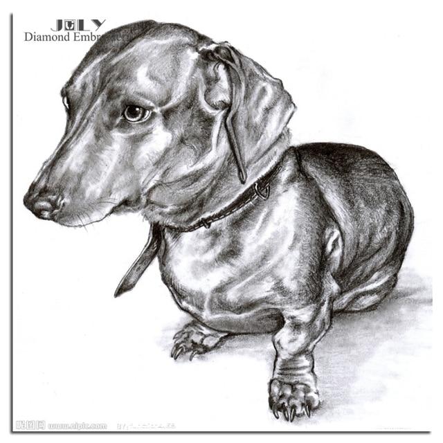 Berlian Kerajinan Bordir Hewan Anjing Sketsa Lukisan Dari