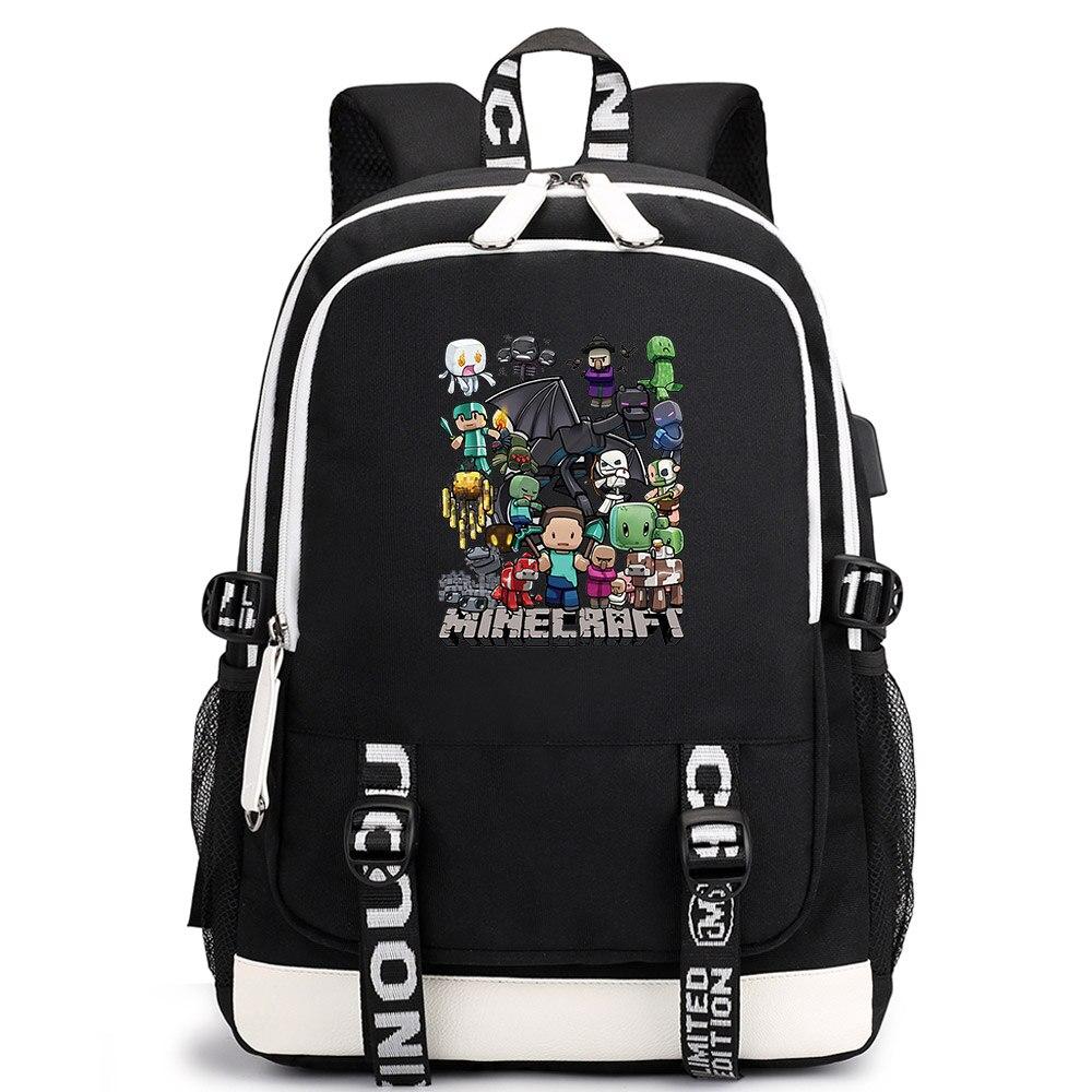 Games Minecraft Black Plaid Eyes Boys Girls School bags Zip Bagpack Teenagers Mochilas Men Student Backpack Packsack