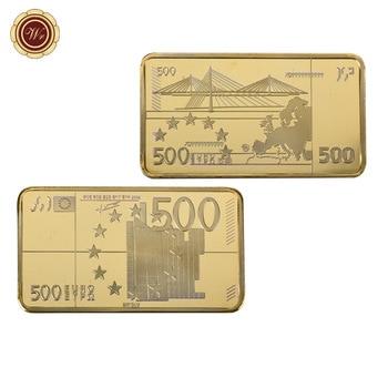 2019 WR 500 Euro złoty banknot Bar 24k 999.9 pozłacany metal barów prezenty pamiątkowe kolekcjonerskie ornament artystyczny warto kolekcja