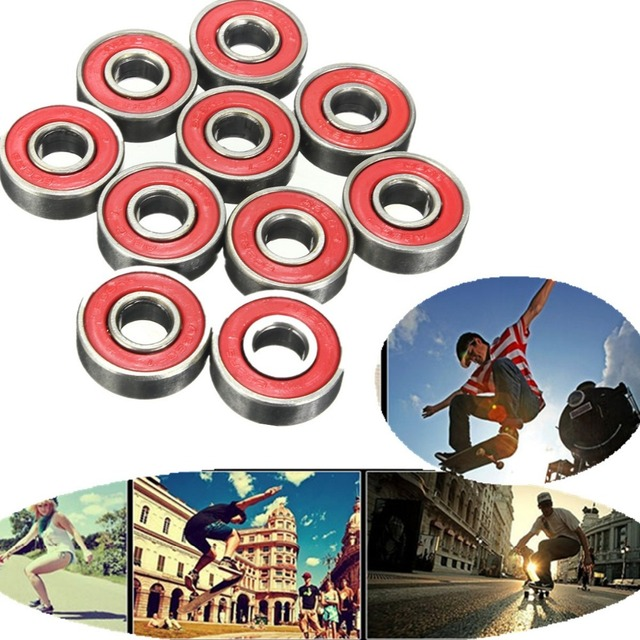 10 ABEC-5 pçs/set 608 RS Rolamento de Roda de Rolo Inline Skate Anti-ferrugem Selado Rolamento De Roda Skate Vermelho 0.8x2.1x0.7 centímetros do eixo