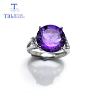 TBJ ,Classic ring design with 100% Natural Big Round shape Amethyst Ring in 925 sterling silver gemstone jewelry for women,