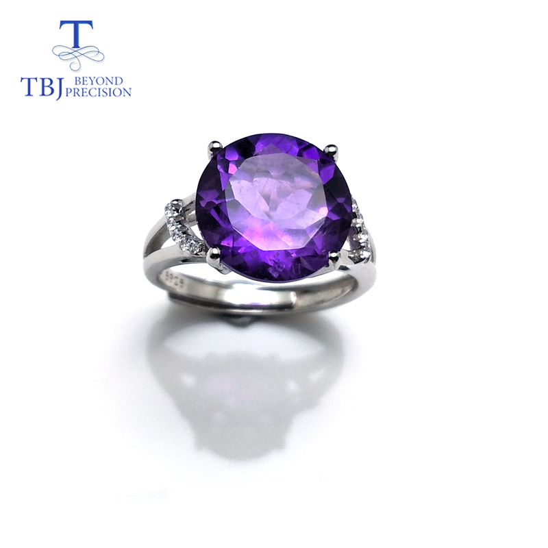 TBJ ,Classic ring design with 100% Natural Big Round shape Amethyst Ring in 925 sterling silver gemstone jewelry for women, charming round shape rhinestone decorated ring for women