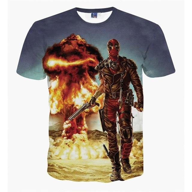 b7a76e230c19 Brand New Men Summer Animation Major Character Deadpool 3D Print T-shirt Men  Short Sleeve 3D Print Tees Young Men Tops 18 Colors