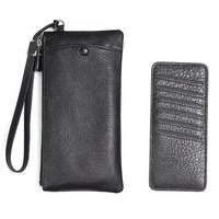 Universal bag for iphone 6 7plus Vintage Genuine cowhide Leather Wallet zip Case for samsung long cash card hand bag phone cover