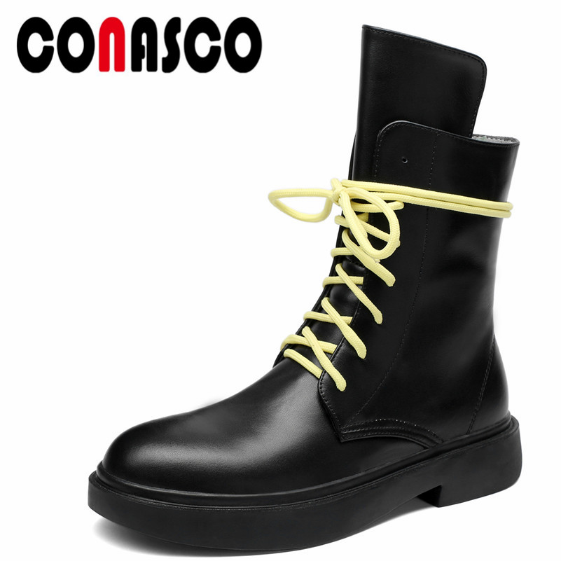 CONASCO 1Fashion Women Ankle Boots Autumn Winter Warm Genuine Leather High Heels Shoes Woman Cross-tied Round Toe Quality Shoes fedonas 1fashion women ankle boots autumn winter warm high heels shoes woman round toe cross tied genuine leather martin boots