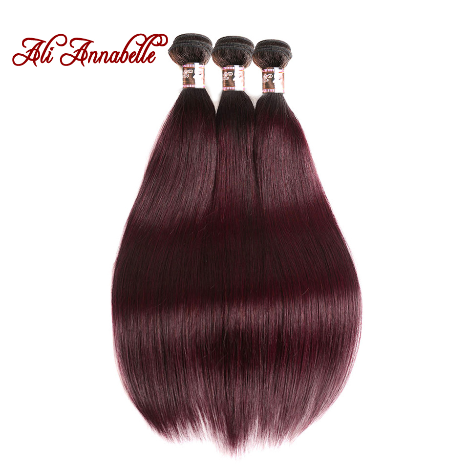 Us 56 0 44 Off Ali Annabelle Hair Ombre Brazilian Hair Straight 3pcs 1b Burgundy Ombre Hair Weave Bundles 99j Red Remy Human Hair Extension In 3 4