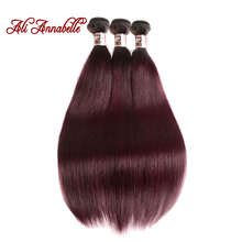 ALI ANNABELLE HAIR Ombre Brazilian Hair Straight 3pcs 1B/Burgundy Ombre Hair Weave Bundles 99J Red Remy Human Hair Extension
