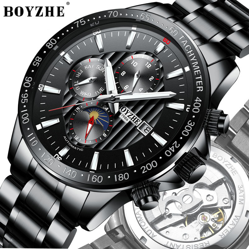 mens watch Luxury men boyzhe brand wristwatches stainless steel mechanical Automatic man watches waterproof Moon Phase calendar mens watches mechanical automatic stainless steel waterproof man wristwatches fashion hollow oubaoer brand luxury men s clocks