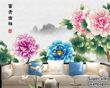 beibehang Super silky wallpaper New Chinese Peony Bird Landscape TV background wall papers home decor Decorative painting behang