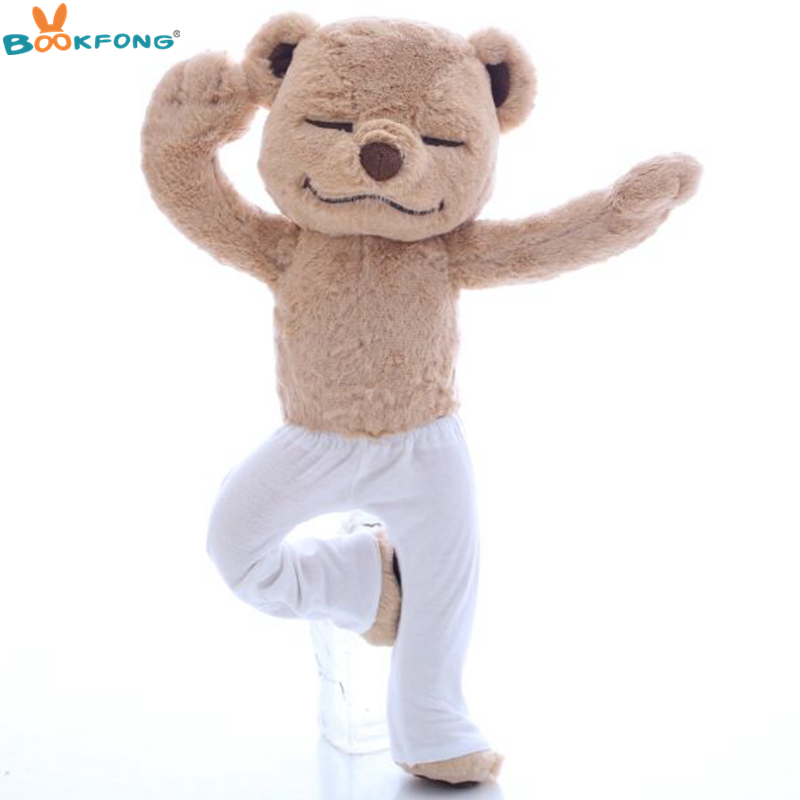 BOOKFONG Yoga Bear Plush Doll Creative Yoga Bear Stuffed Animal Toy Soft Comfort Baby Toys Kids Girlfriend Birthday Gifts 40cm jason freeny balloon dog jelly bear perspective anatomical skeleton model 4 dmaster novelty toys creative gifts
