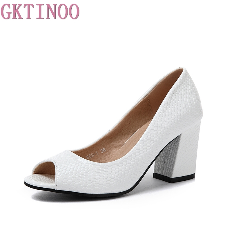 GKTINOO 2018 Summer Shoes Woman Open Toe Women Leather High Heel sandals Casual Platform Sandals Women Sandals Plus Size 34-43 gktinoo summer shoes woman genuine leather sandals open toe women shoes slip on wedges platform sandals women plus size 34 43