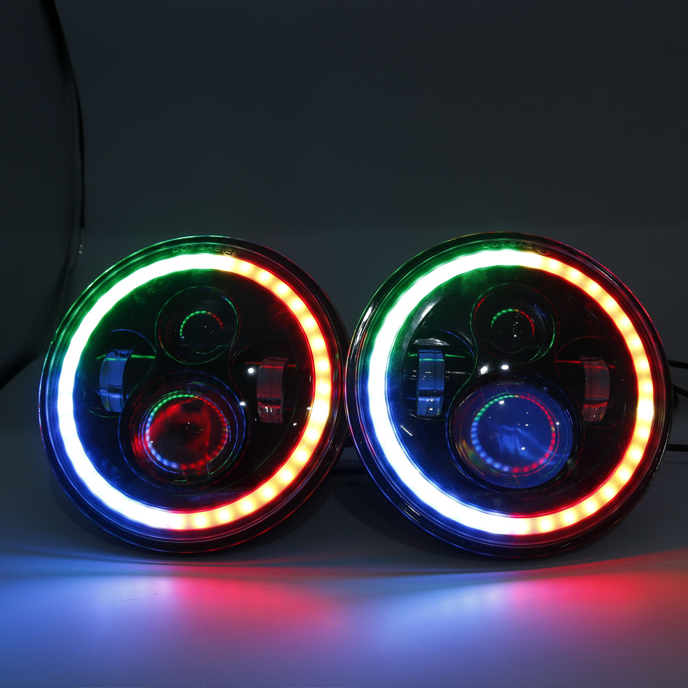 RGB Halo 7 Inch Led Headlight Plug And Play Led Angel Eyes Headlight Sealed Beam With Bluetooth Remote For Jeep Wrangler CJ JK