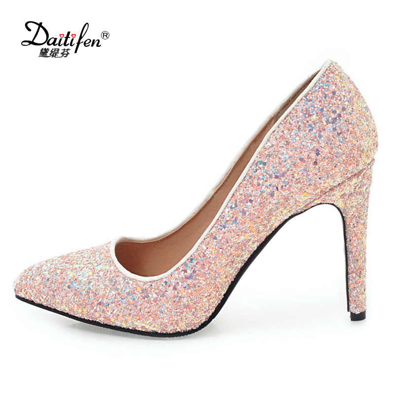 Daitifen Womens 10 cm Heels Thin high  Heel Stiletto Glitter Wedding Pumps Black white pink Heels Party Dress Shoes size 34-43 burgundy gray saphire blue pink women dress party career work shoes flock shallow mouth stiletto thin high heel pumps