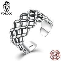 VOROCO Bradid Rendas Padrão Anéis Abrir Cuff Ajustável Anéis de Prata Esterlina 925 para As Mulheres Anéis de Casamento Do Vintage Presente VSR051