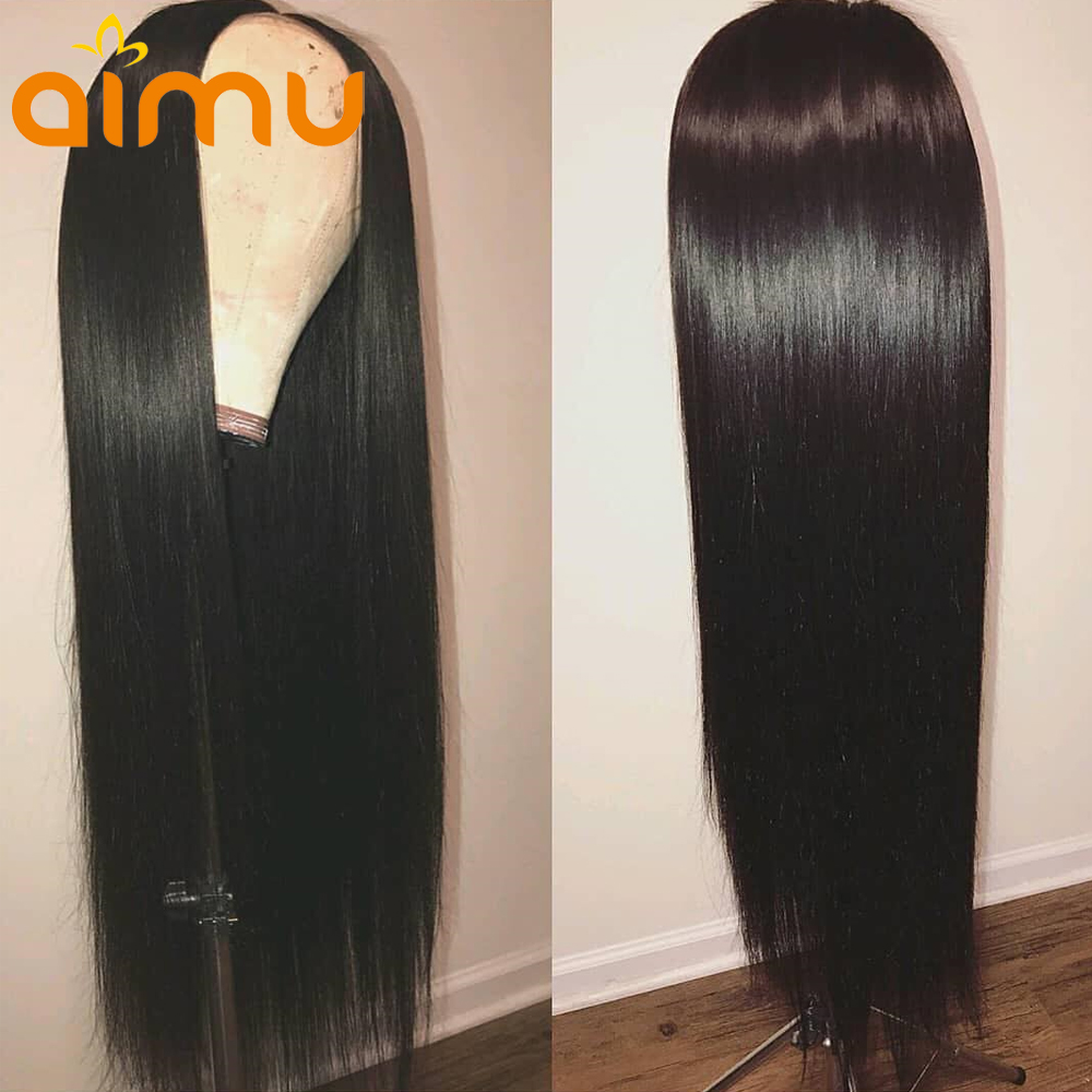 13x6 Deep Parting Preplucked Lace Front Human Hair Wigs With Baby Hair Straight Brazilian Virgin Wig for Black Women 130 Density