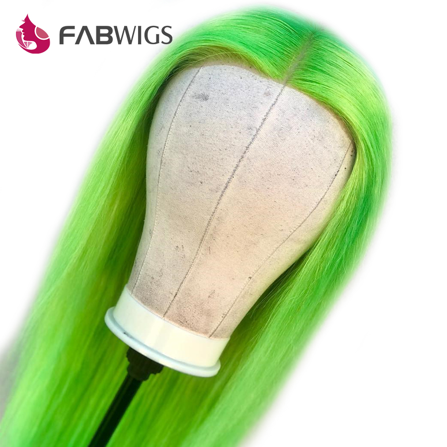 Fabwigs Lime Green Full Lace Human Hair Wigs with Baby Hair Pre Plucked 6inch Deep Part