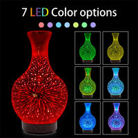 Noctilucent 3D Firework Color Changing Glass Essential Oil Aroma Diffuser LED Ultrasonic Humidifier Vase Incense Burners