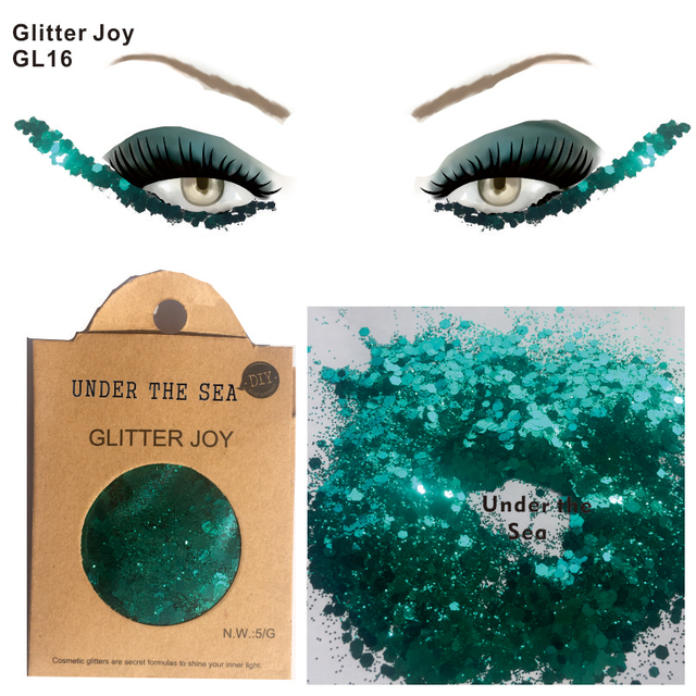 Gl16 One Pack Of Green Under The Sea Chunky Eye Glitter Hair Body Sequins Decorations Festival