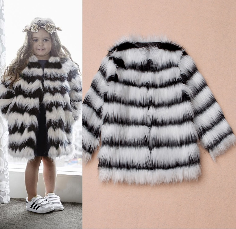 T0589 European and American autumn and winter black and white stripes Children Faux fur coat 2017 girls dresses in black and white stripes 100