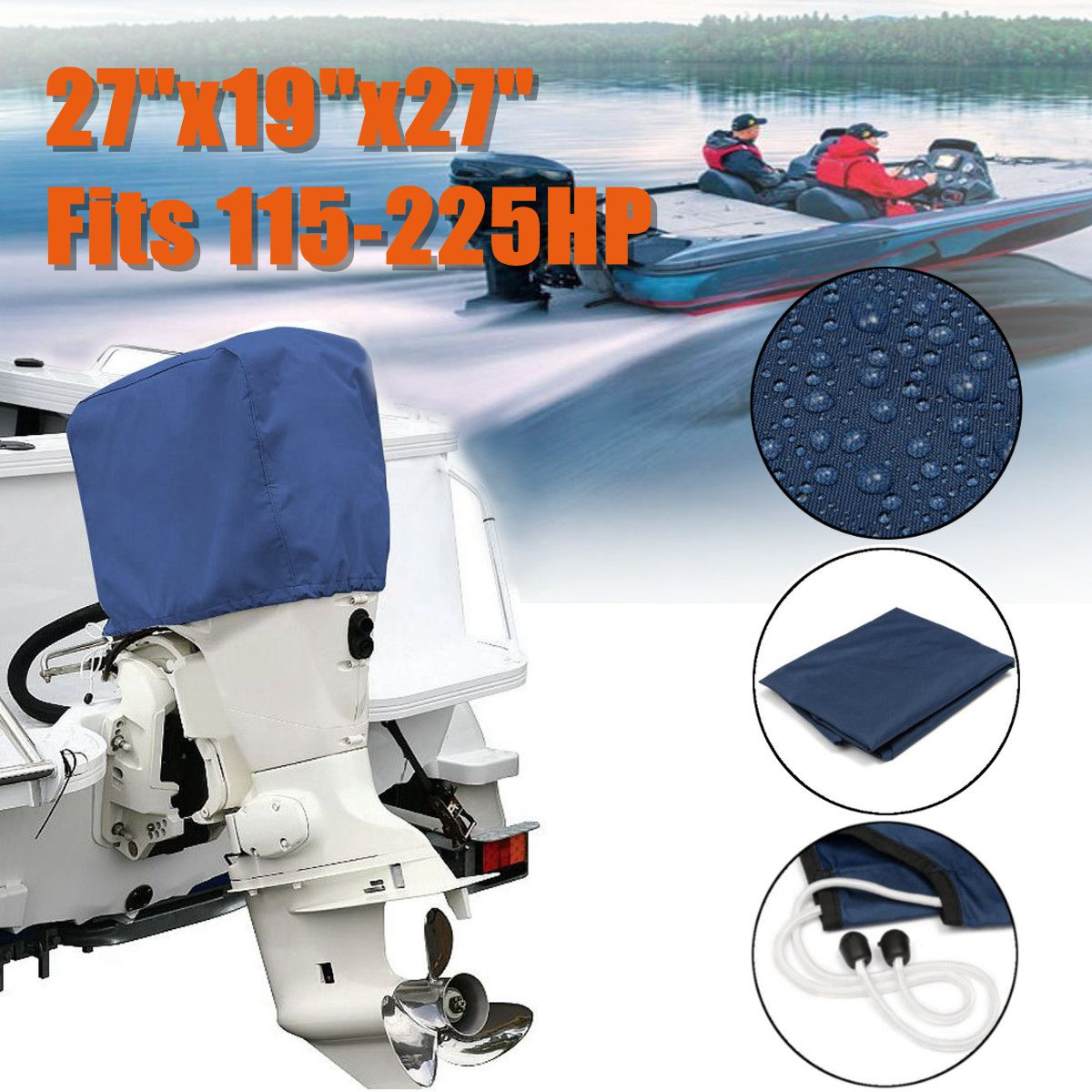 Blue Boat Outboard Motor Engine Cover 300D Waterproof Fits For HP 50-115