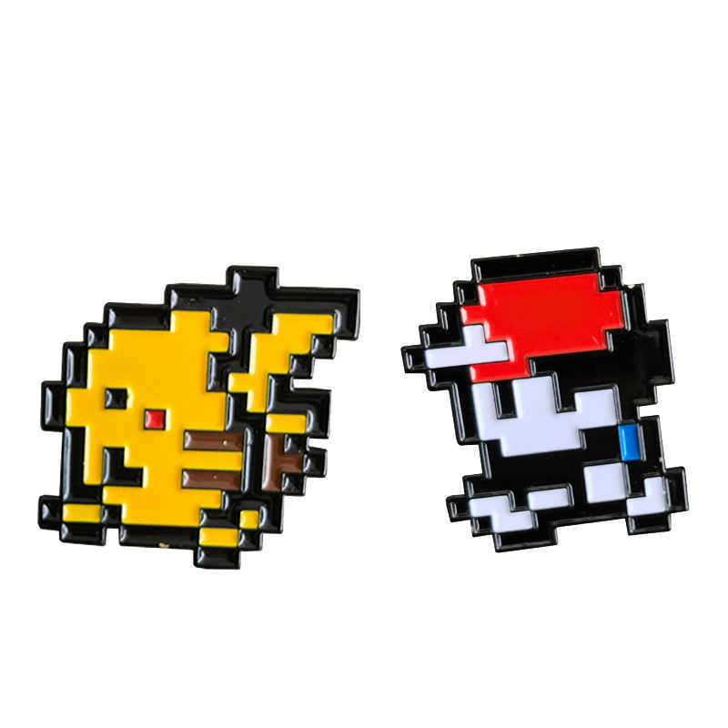 Ash Ketchum & Pikachu Emaille Pin Pixel 8 Bit Badge Klassieke Pokemon Games Broche Laat Gaan Game Boy Gift