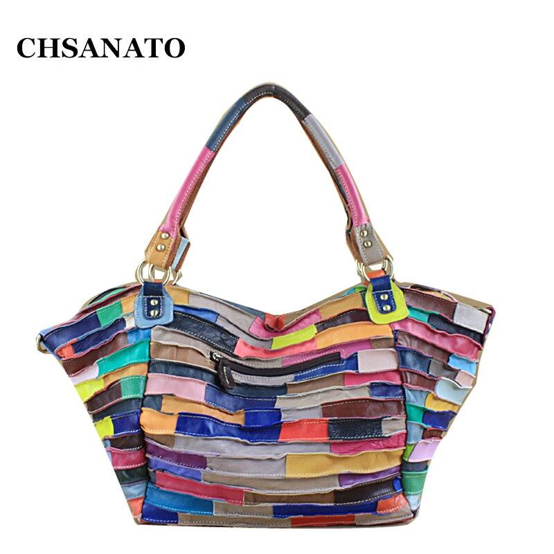 CHSANATO Wholesale Female Designer Handbag High Quality Genuine Leather Lambskin Large Trapeze Tote Bags For Women