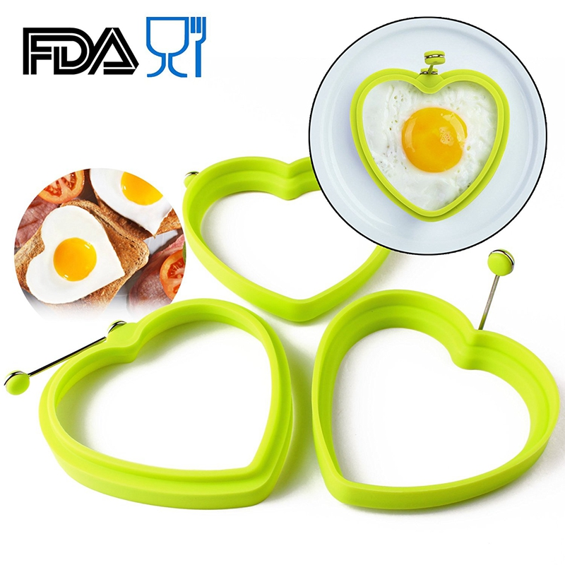 1PCS Heart Shape Silicone Egg Moulds Kitchen Pancake Ring Non-stick Silicone Heart Egg fried Mould Silicone Egg Ring Kitchenware