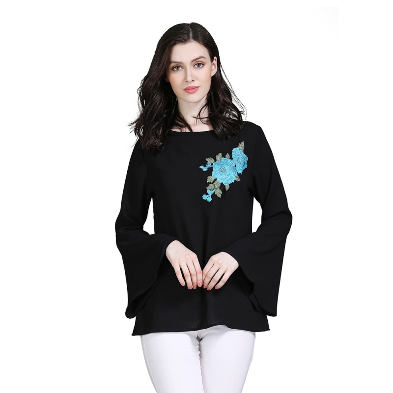 Turkish Islamic Clothing Muslim Tops Blouse Middle East Saudi Arabia Top Clothes Long Flare Sleeve Women Floral Embroidery Shirt