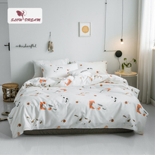 SlowDream Cartoon Cat Bedding Set Bed Linens Nordic 100% Cotton Flat Sheet Double Queen King Decor Home Textiles Adult