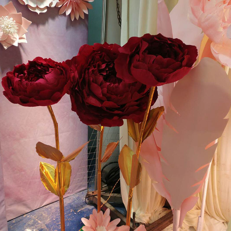 Giant Paper Flowers Large Peony Head Leaves Diy Home Wedding Party