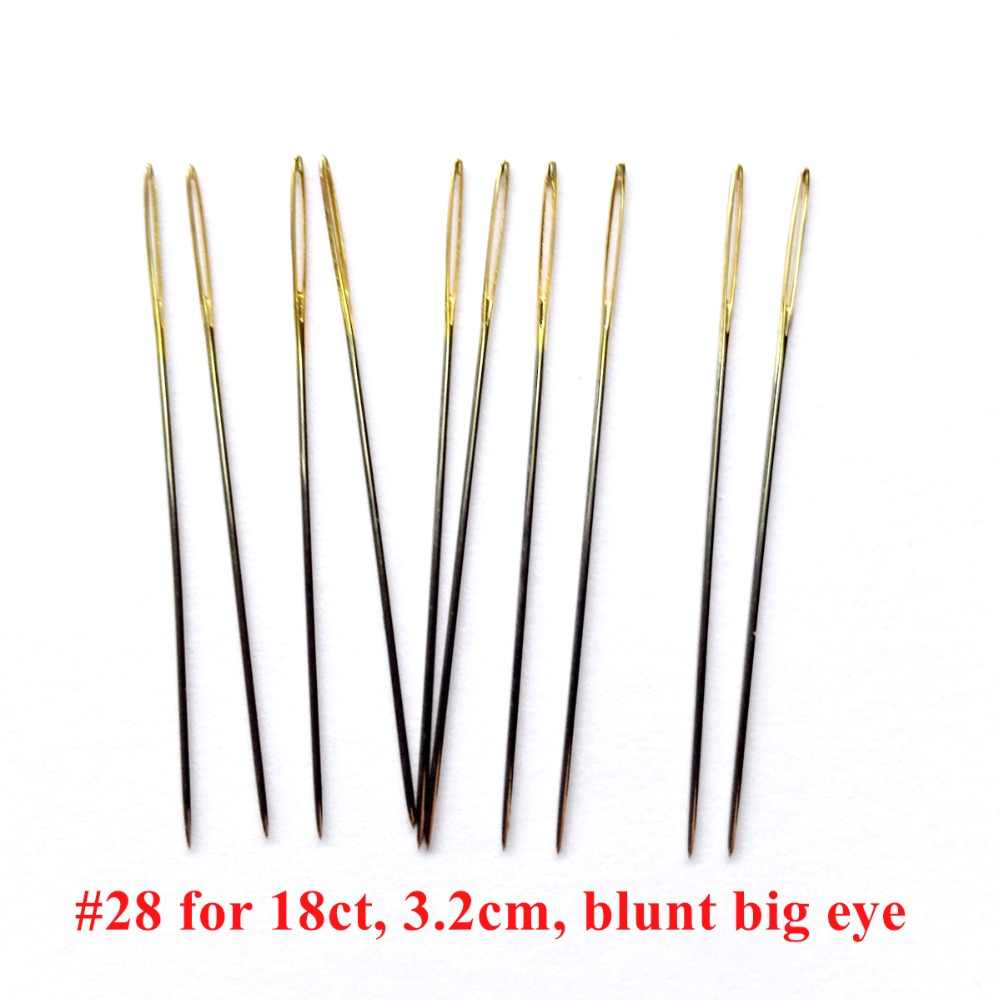 10pcs/lot #28 gold tail Needles for aida 16 18 25 32 ct fabric cross stitch stitching sew embroidery Tool DIY needlework plus