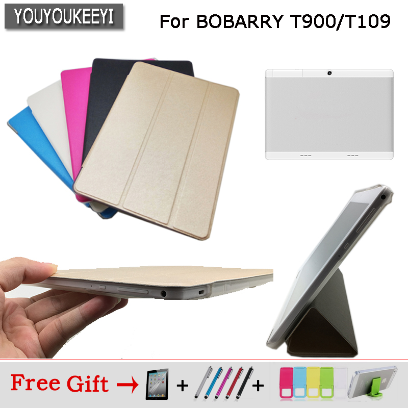 Ultra thin 3 fold Folio PU stand cover case For <font><b>BOBARRY</b></font> T900/<font><b>T109</b></font> 10.1inch tablet ,5 colors for choose+Protective film image