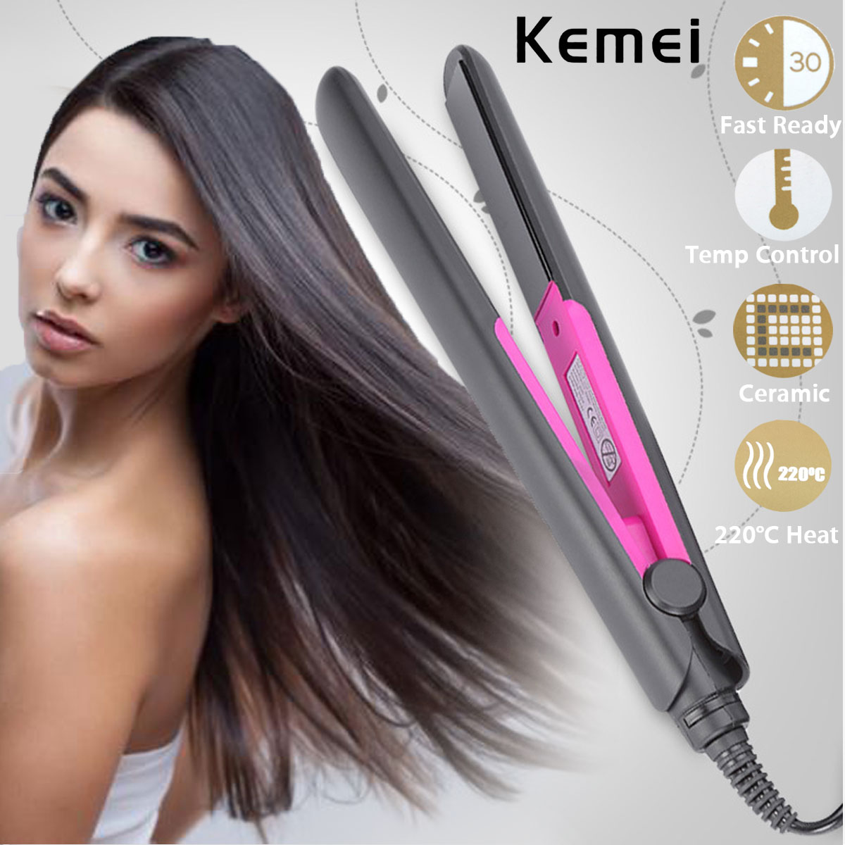 KEMEI Professional Straightening Irons Fast Heating Flat Iron Styling Tools Ceramic Tourmaline Plate Perm Hair Straightener