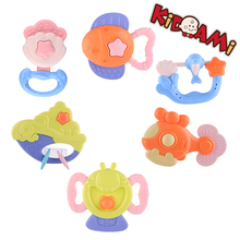KIDAMI,Baby Rattles,6-piece Package,ABS Plastic and Silicone,Colorful, easy to play,baby will pay attention it quickly,safe