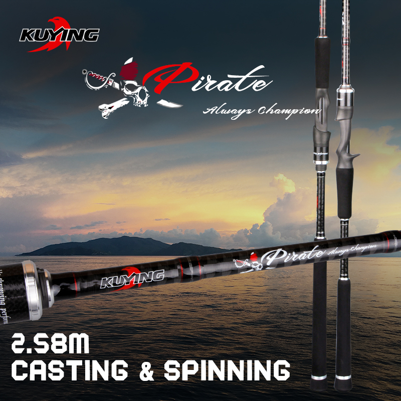 KUYING Pirate 2.58m Casting Spinning M Lure Fishing Rod Fish Cane Pole Stick FUJI Spare Parts Carbon Fiber Medium Fast Action