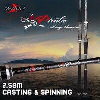 Pirat KUYING 2.58 m Casting Spinning M Wędką Przynęty Ryb trzciny Słup Kij FUJI Części Carbon Fiber Średni Szybka działania