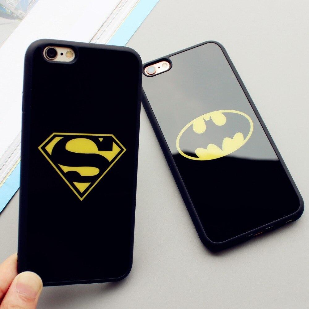 Lover <font><b>Cell</b></font> <font><b>Phone</b></font> <font><b>Cases</b></font> Fundas Coque For <font><b>iPhone</b></font> <font><b>6</b></font> 6S 7 Plus 5 5S SE Superman Batman <font><b>Case</b></font> Soft Silicone Mirror <font><b>Phone</b></font> Back Cover