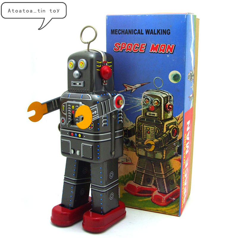 Vintage Space Man Robot Collection Tin Toys Classic Clockwork Wind Up Mechanical Walking Robot Tin Toys For Collectible Gift