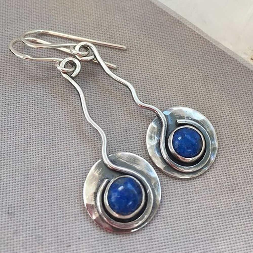 Vintage ยาวเงินลวดโค้งต่างหูฝัง Lapis Lazuli รอบ Lollipop ต่างหู D20