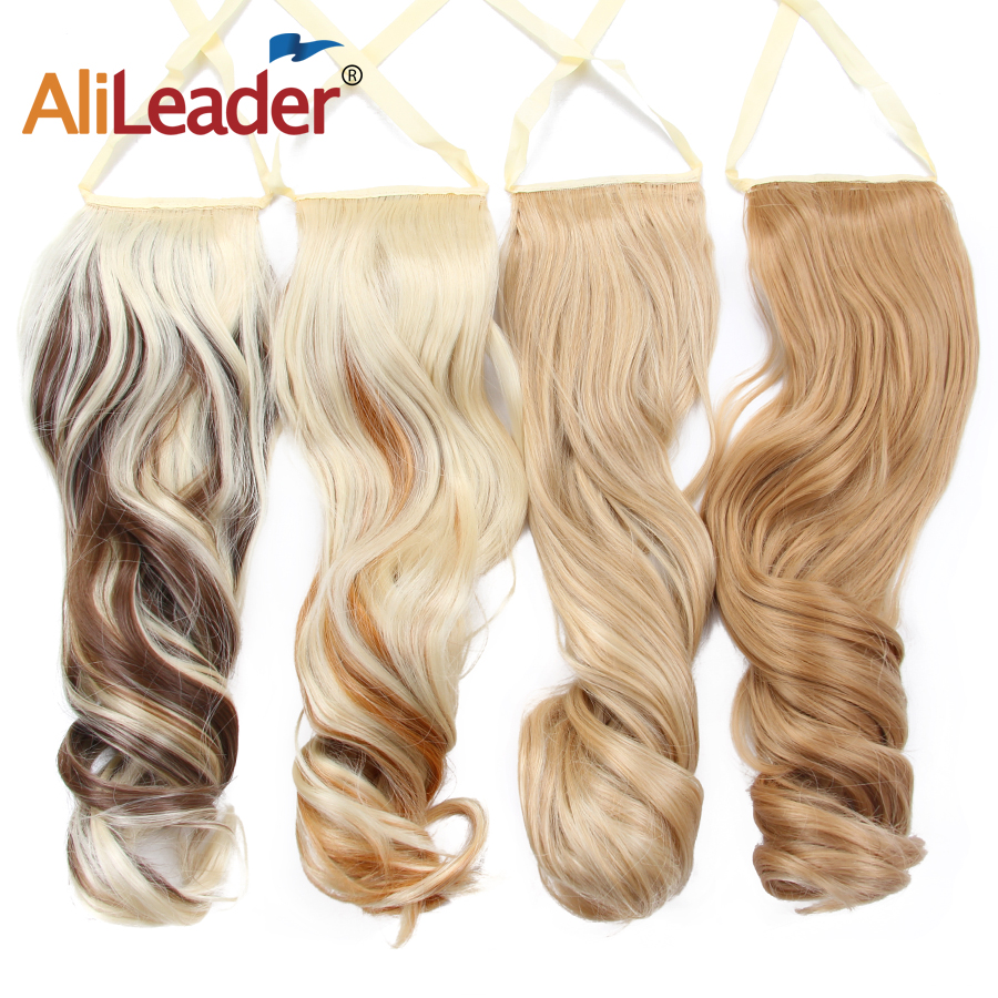 Alileader Synthetic Fiber Hair Extensions Long Ponytail Extensions Heat Resistant Fake False Drawstring Pony Tail Hair Piece