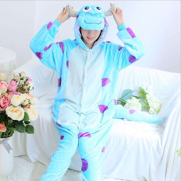 Blue Jumpsuit Sleepwear Pajama Kigurumi Anime 2018 Cosplays Costumes Women bathrobe Lingerie Pyjamas Soft Negligee Pug Adult ...