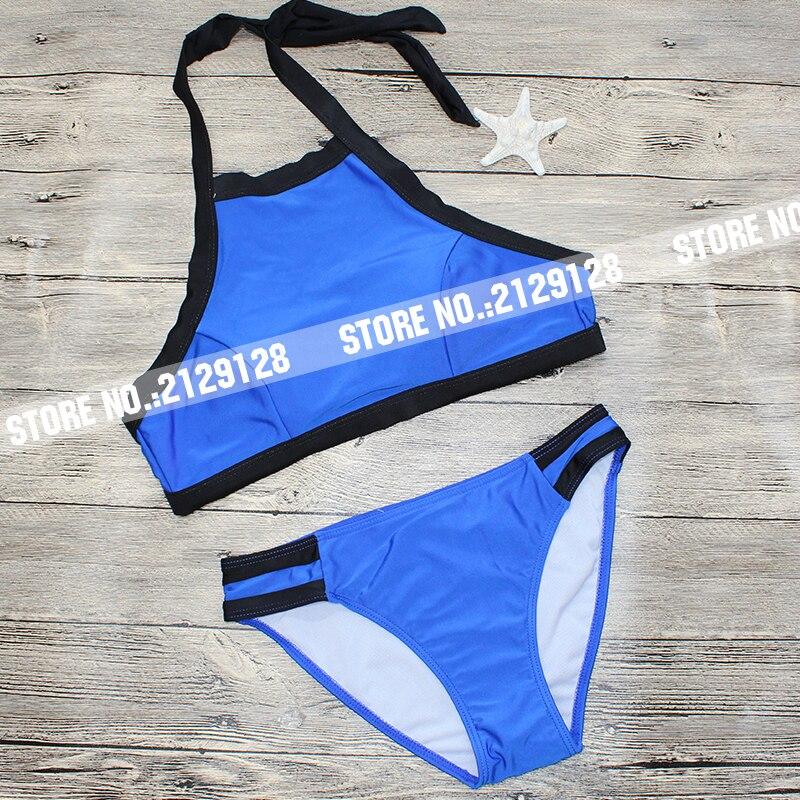 7aece1fc36 Black Blue Split Stitching NYLON Tankini Swimsuits Women sport Sexy ...