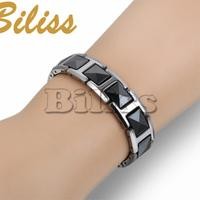 Fashion Cool Black Ceramic Bracelet Health Energy With Magnetic Stone Tungsten Chain Bracelets For Men 19