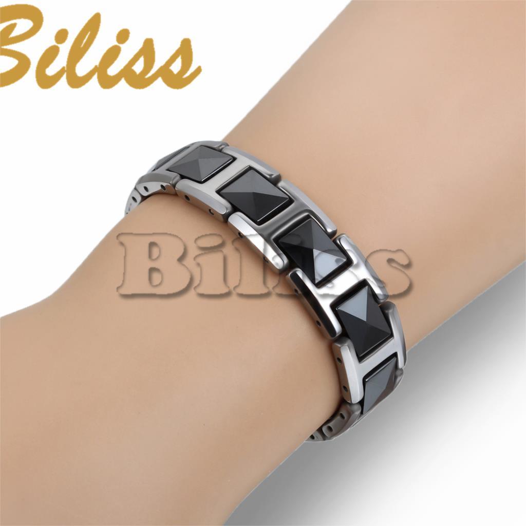 Moda Cool Black Ceramic Bracelet Energia Saúde com Pedra Magnética pulseiras de Tungstênio Pulseiras de Cadeia Para Homens 19.8*12 milímetros
