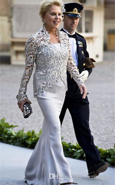 Vintage mère de la mariée robes avec dentelle veste 2019 pas cher mamans robes grande taille sirène femme robes de soirée boléro - 2