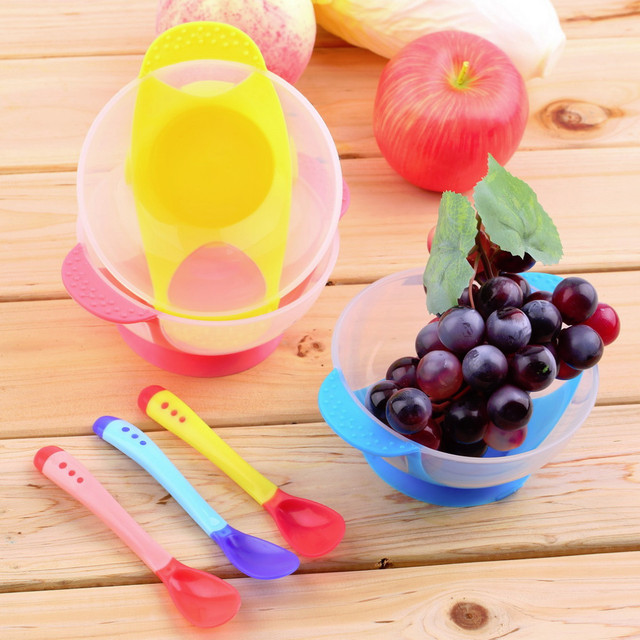 Colorful Temperature Sensitive Spoon & Fork with Bowl