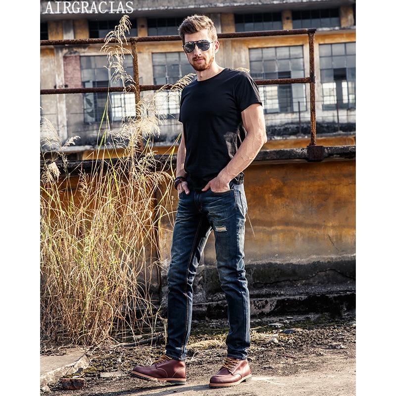AIRGRACIAS Hot Sales Fashion Men's Classic Dark Blue Holes Jeans Men Slim Straight Pants Casual 100% Cotton Long Trousers