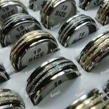 100 יחידות להאיר לשפשף ספין Rotatable נירוסטה טבעות לנשים גברים כל תכשיטים בתפזורת הרבה משלוח חינם LR307