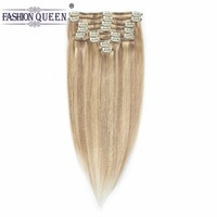Full Head Clip in Human Hair Extensions 12pcs/set Ash Blonde/Bleach Blonde #P18/613 Weighs 95g with 20 Clips, 0.8g per clip