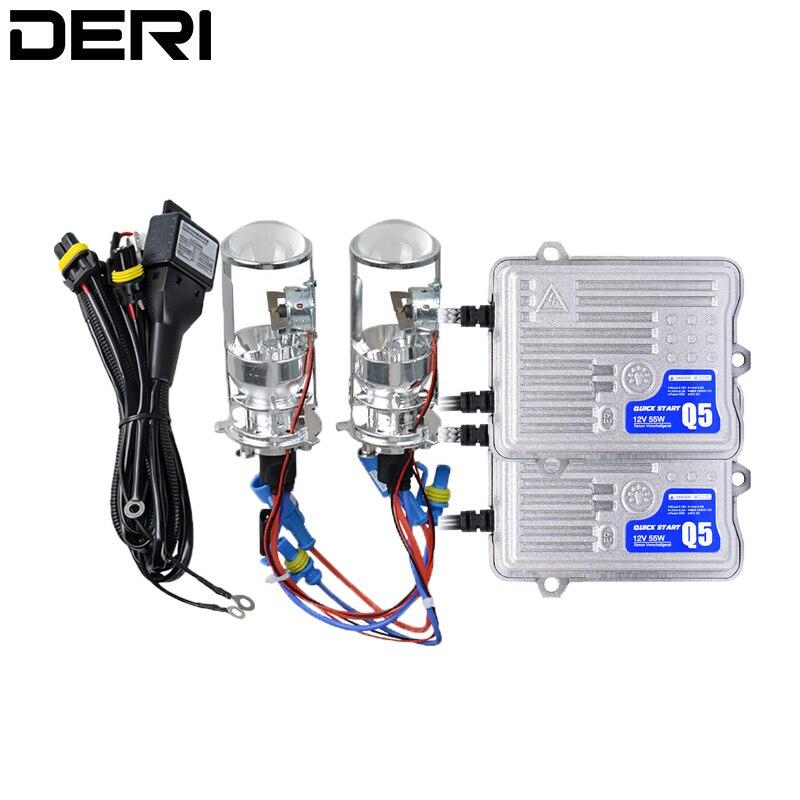 H4 Mini Bi projecteur xénon 1.5 pouces lentille de phare 55 W 4300 K 6000 K pour phare rénovation bricolage voiture style haute basse lumières LHD RHD